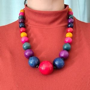 25% off 3+ bundles / chunky painted bead necklace